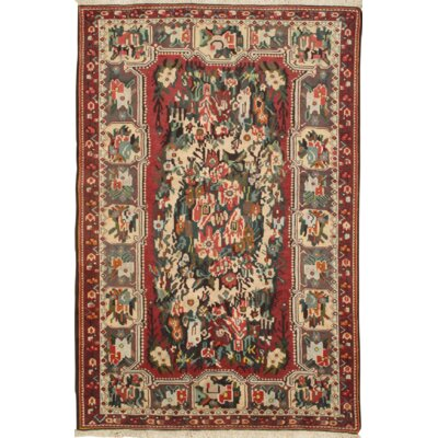Persian Bakhtiari Antique Hand-Knotted Wool Rust/Ivory Area Rug