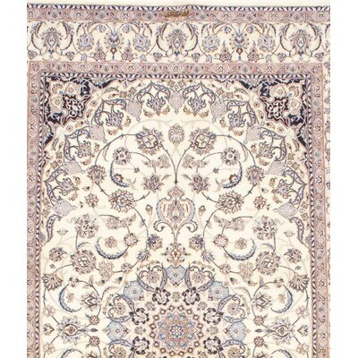 Persian Habibian Signed Nain Hand-Knotted Wool Ivory/Blue Area Rug