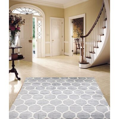 Viscose Hand-Knotted Wool/Silk Gray/Ivory Area Rug