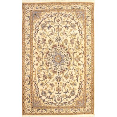 Persian Nain Pile Hand-Knotted Wool Ivory Area Rug