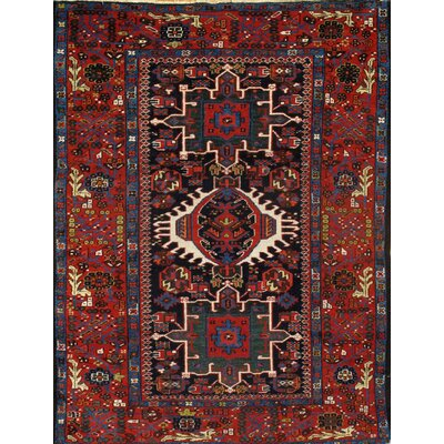 Antique Persian Hand-Knotted Wool Navy/Rust Area Rug