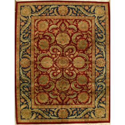 Indian Agra Hand-Knotted Wool Rust Area Rug