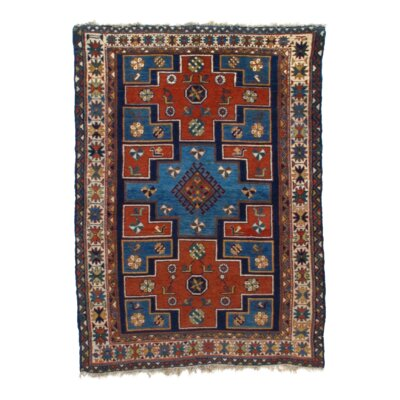 Antique Russian Kazak Hand-Knotted Wool Blue/Ivory Area Rug
