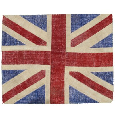 Union Jack Patchwork Hand-Knotted Wool Red/Blue Area Rug