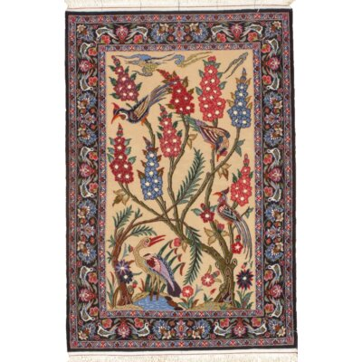 Persian Isfahan Hand-Knotted Silk/Wool Ivory Area Rug