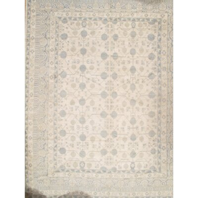 Khotan Hand-Knotted Wool Ivory/Gray Area Rug