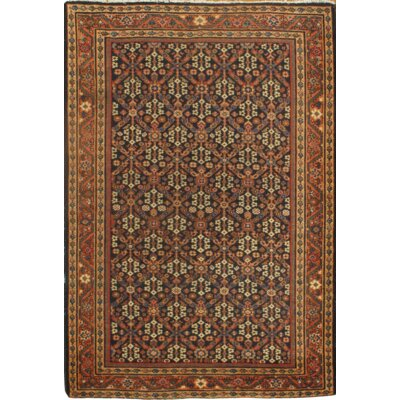 Mahal Design Hand-Knotted Wool Brown Area Rug