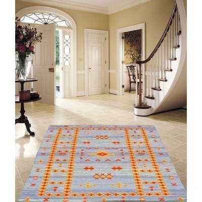 Moroccan Style Reversible Flat Weave Hand-Knotted Wool Blue/Orange Area Rug