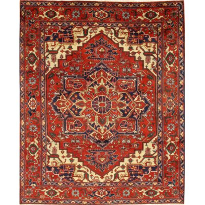Serapi Indian Hand-Knotted Wool Rust Area Rug