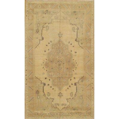 Turkish Oushak Vintage Hand Knotted Wool Beige Area Rug