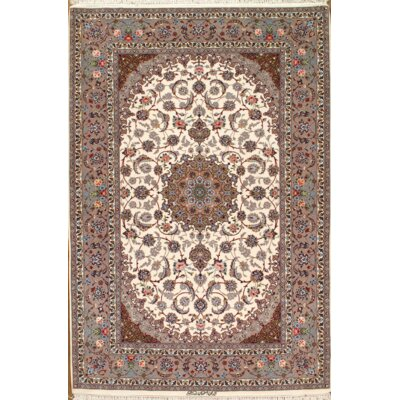Persian Hand-Knotted Wool Ivory/Brown Area Rug