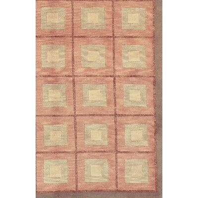 Modern Hand-Knotted Wool Peach/Ivory Area Rug