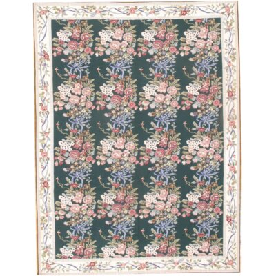 Hand-Knotted Wool Green/Pink Area Rug