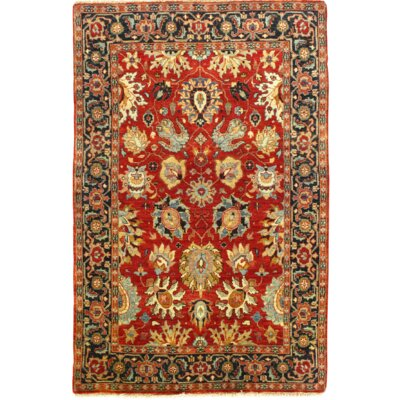Indo Hand-Knotted Wool Red/Navy Area Rug