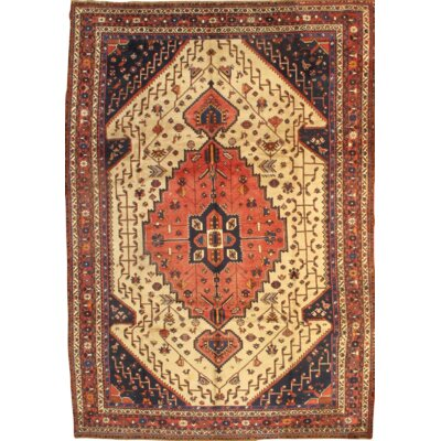 Semi-Antique-Hand Knotted Wool Ivory/Rust Area Rug