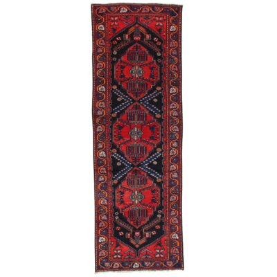 Semi-Antique Hand-Knotted Wool Navy/Rust Area Rug