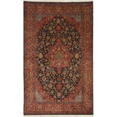 Kashan Hand-Knotted Wool Navy/Rust Area Rug
