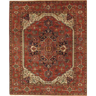 Indian Hand-Knotted Wool Rust Area Rug