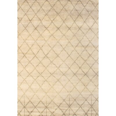 Moroccan Modern Hand-Knotted Wool Ivory Area Rug Rug Size: Rectangle 10 x 8