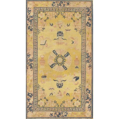Antique Chinese Peking Hand-Knotted Wool Beige/Blue Area Rug