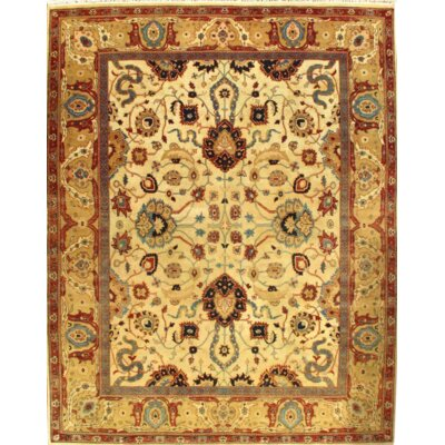 Fine Agra Hand-Knotted Wool Ivory/Gold Area Rug