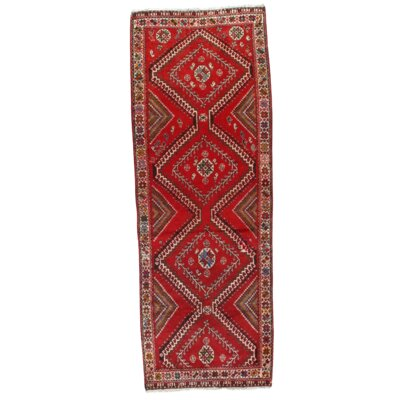 Semi-Antique Persian Shiraz Hand-Knotted Wool Red Area Rug