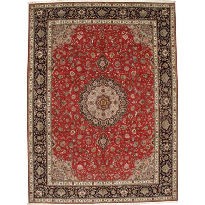 Persian Tabriz Hand-Knotted Wool Rust Area Rug