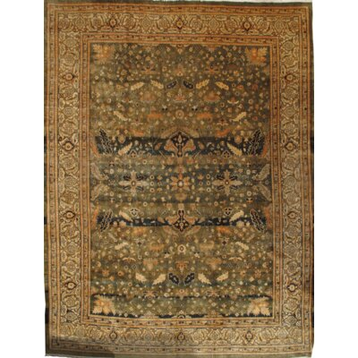 Pak Farahan Design Hand Knotted Wool Green/Ivory Area Rug