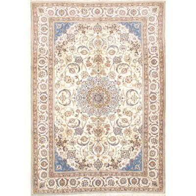 Persian Nain Hand-Knotted Wool Ivory Area Rug