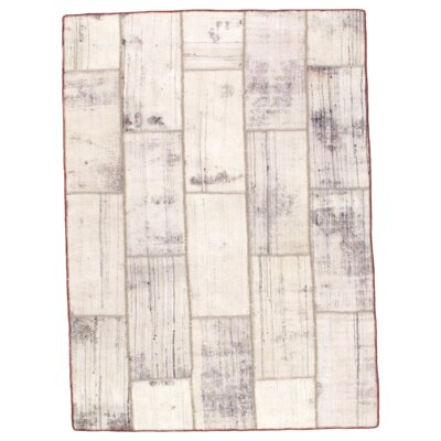 Persian Patchwork Decorative Hand-Knotted Wool Gray/Beige Area Rug