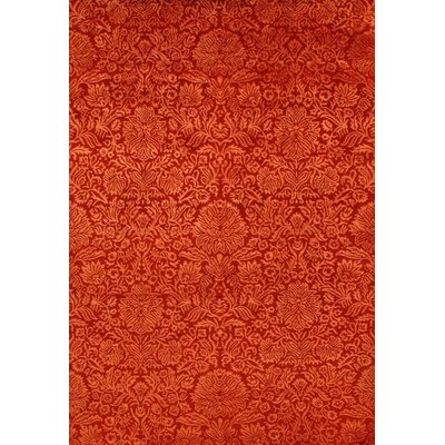 Indian Damask Tabriz Hand-Knotted Silk/Wool Red Area Rug