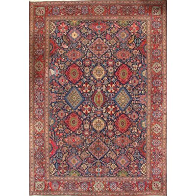 Persian Semi-Antique Kashan Hand-Knotted Wool Blue/Red Area Rug