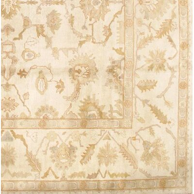 Turkish Oushak Original Design Hand-Knotted Wool Ivory Area Rug