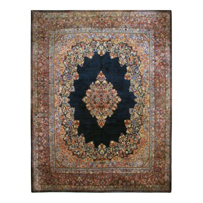 Antique Hand-Knotted Wool Navy/Ivory Area Rug