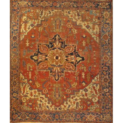Antique Hand-Knotted Wool Rust Area Rug