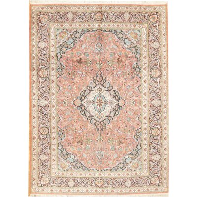 Kashmir Hand-Knotted Silk Rose/Ivory Area Rug
