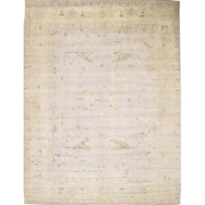 Turkish Oushak Design Hand-Knotted Wool Ivory Area Rug