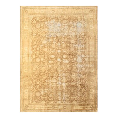 Antique Hereke Hand-Knotted Wool Ivory Area Rug