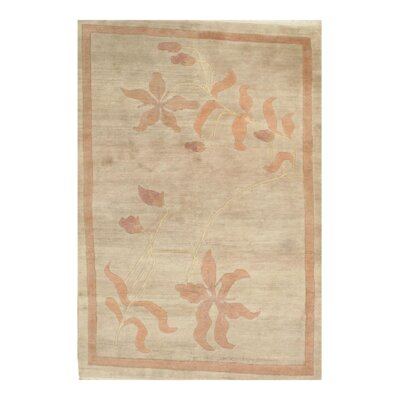 Contemporary Tibetan Hand-Knotted Wool Ivory Area Rug