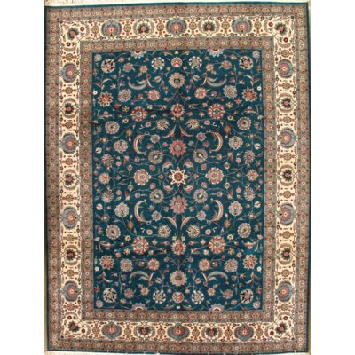 Tabriz Hand-Knotted Wool Green Area Rug
