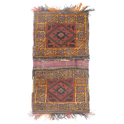 Persian Saddlebag Hand-Knotted Wool Red Area Rug