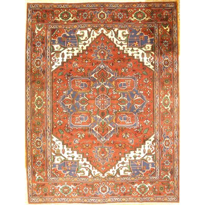 Indo Serapi Hand-Knotted Wool Rust Navy Area Rug