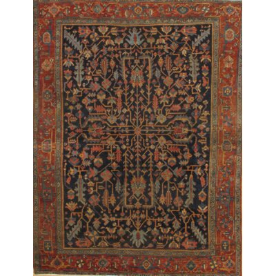 Heris Hand-Knotted Wool Rust/Navy Area Rug