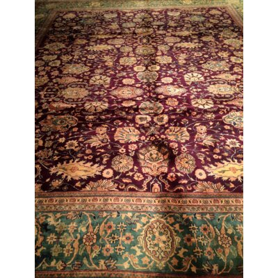 Agra Hand-Knotted Wool Burgundy/Green Area Rug