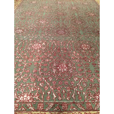 Tabriz Hand-Knotted Wool Green/Ivory Area Rug