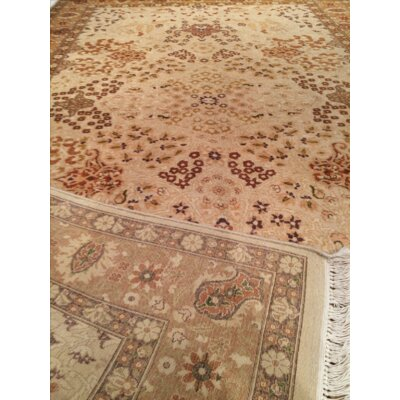 Indian Hand-Knotted Wool Beige Area Rug