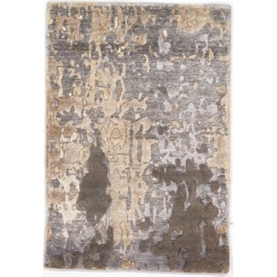Rayon from Bamboo Hand-Knotted Silk Gray Area Rug