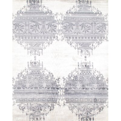 Modern Bamboo Hand-Knotted Silk Gray Area Rug