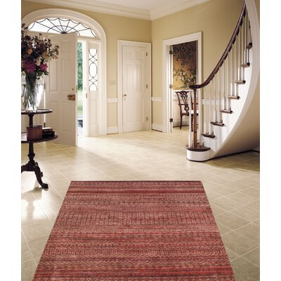 Sari Silk Hand-Knotted Wool Red Area Rug
