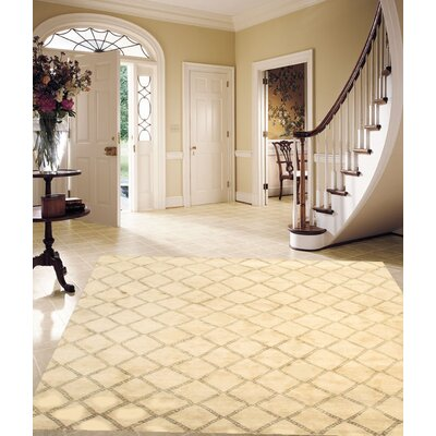 Moroccan Hand-Knotted Wool Ivory Area Rug